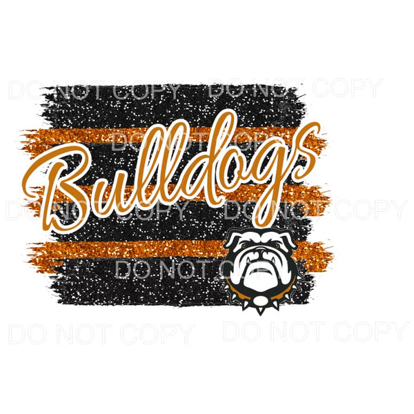 Bulldogs Orange and Black Stripe Sublimation transfers -