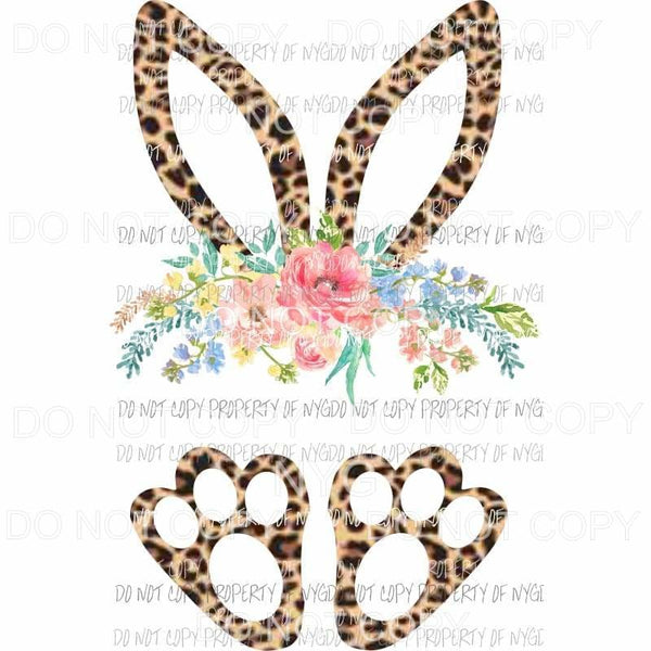 Bunny Ears and Paws leopard flowers Sublimation transfers Heat Transfer