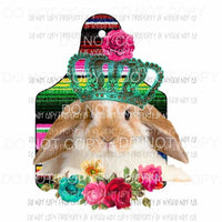 Bunny Show Tag serape flowers crown Sublimation transfers Heat Transfer