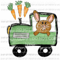 Bunny Train green brown carrots Sublimation transfers Heat Transfer