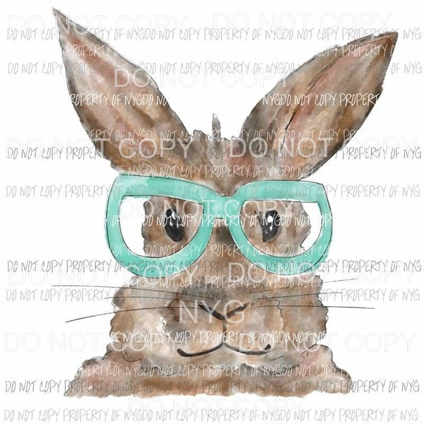 Bunny with Glasses #1 blue watercolor Sublimation transfers Heat Transfer