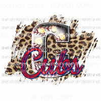 C Cubs baseball marquee Chicago leopard Sublimation transfers Heat Transfer