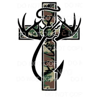 Camo Cross Deer Fishing Hook Sublimation transfers - Heat
