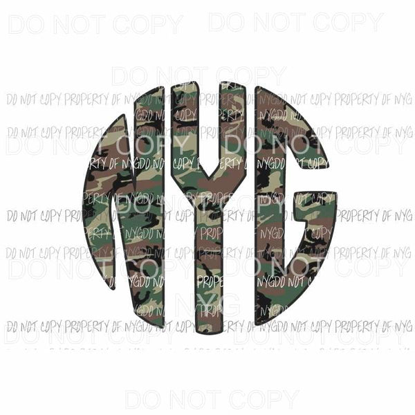 CAMO Green 2 monogram letters put letters in notes please Sublimation transfers Heat Transfer