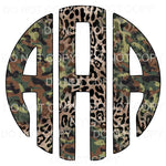 Camo Leopard monogram letters put letters in notes please