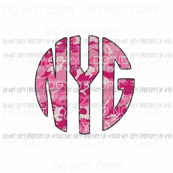 CAMO Pink monogram letters put letters in notes please Sublimation transfers Heat Transfer