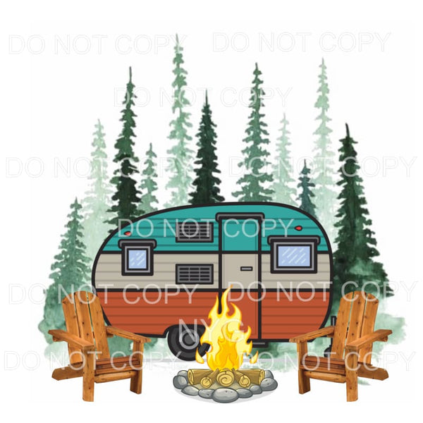 Camper Camping Scene Campfire Sublimation transfers - Heat