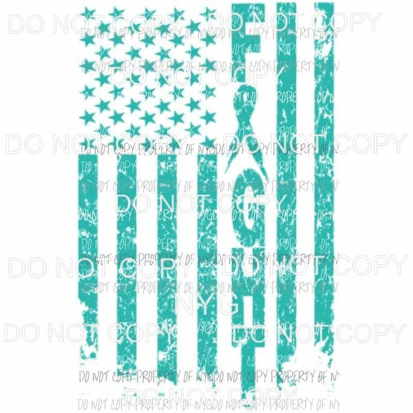 Cancer Flag Ovarian Cancer TEAL Sublimation transfers - Heat