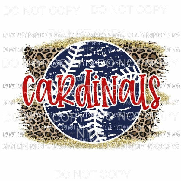 Cardinals baseball leopard Sublimation transfers Heat Transfer