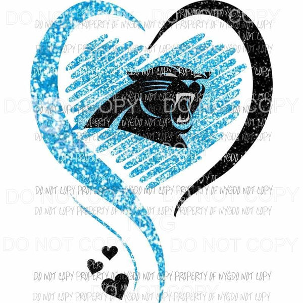 Carolina Panthers heart blue black glitter Sublimation transfers Heat Transfer