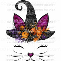Cat face # 2 wearing black witch hat pink ears flowers Sublimation transfers Heat Transfer