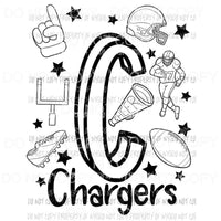 Chargers football spirit doodle Sublimation transfers Heat Transfer