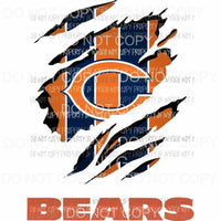 Chicago Bears ripped design Sublimation transfers Heat Transfer