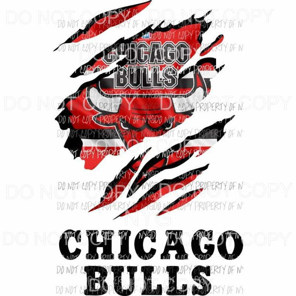 Chicago Bulls ripped design Sublimation transfers Heat Transfer