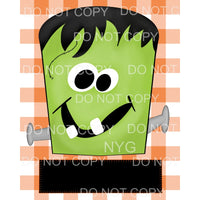 Child Frankenstein Face orange plaid Sublimation transfers -