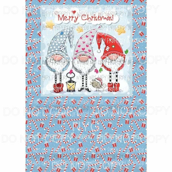 Christmas Gnomes Combo Sheet Sublimation transfers 13 x 9 inches Heat Transfer
