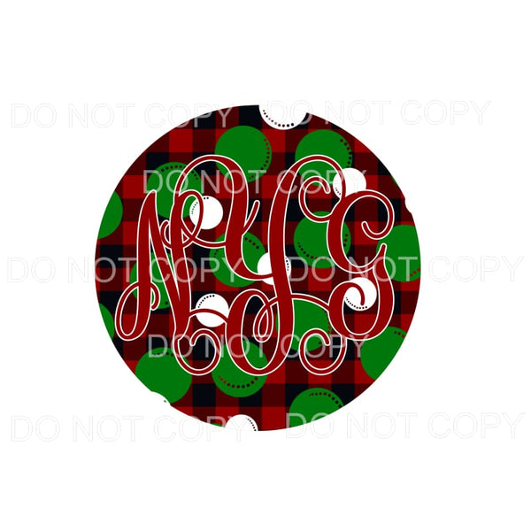 Christmas Plaid Dots MONOGRAM # 1 monogram letters put