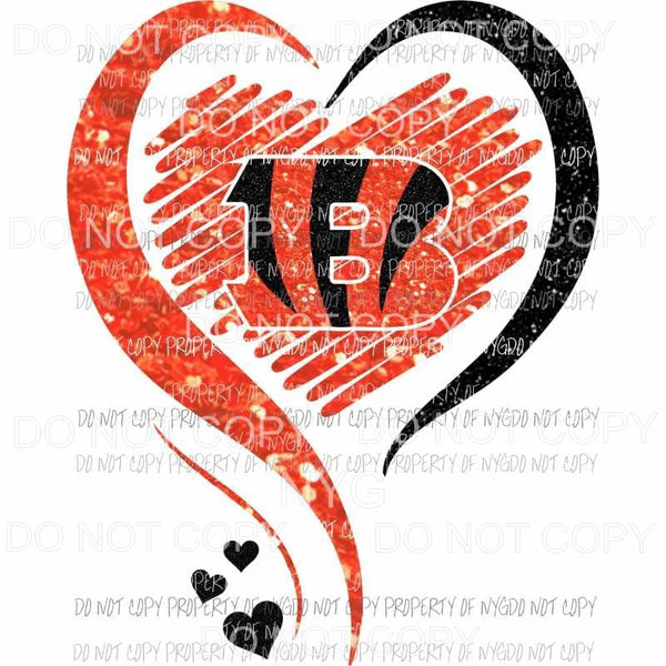 Cincinnati Bengals heart orange black glitter Sublimation transfers Heat Transfer
