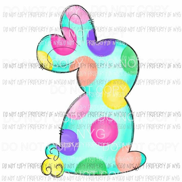 Colorful Polka Dot Bunny Sublimation transfers Heat Transfer