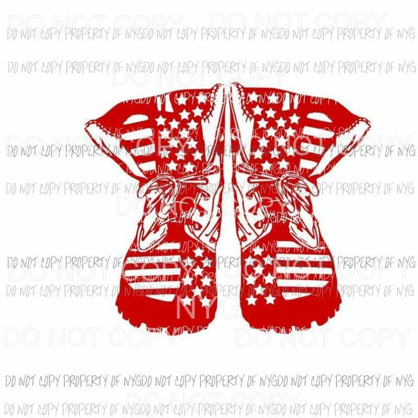 Combat boots red white stars stripes military Sublimation transfers Heat Transfer