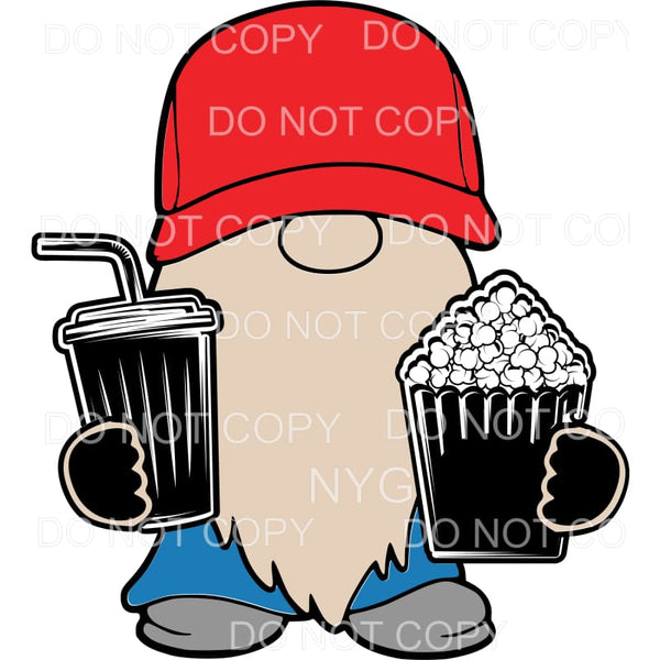 Concession Stand Gnome Red Cap Drink Popcorn Sublimation