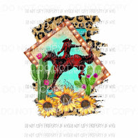 Cowboy on a horse cactus leopard background cactus sunflowers Sublimation transfers Heat Transfer