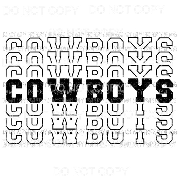 Cowboys mirrored stacked Sublimation transfers Heat Transfer