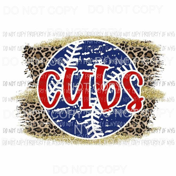 Cubs baseball leopard Sublimation transfers Heat Transfer