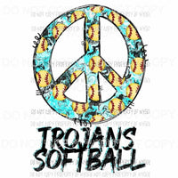 CUSTOM TEAM and colors Peace Trojans Softball #1 Sublimation transfers Heat Transfer