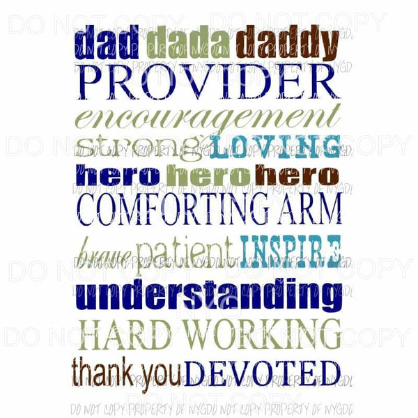 Daddy Subway Words #1 blue green Sublimation transfers Heat Transfer