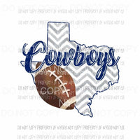 Dallas Cowboys football chevron state Sublimation transfers Heat Transfer