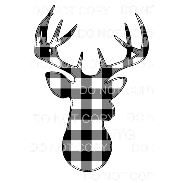 Deer Black Buffalo Plaid Sublimation transfers - Heat