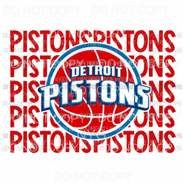 Detroit Pistons stacked Sublimation transfers Heat Transfer