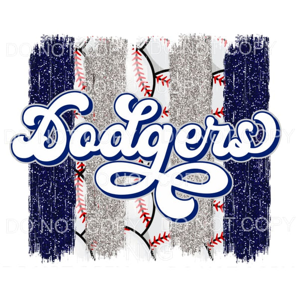 Dodgers Baseball Blue Silver Brushstrokes Los Angeles