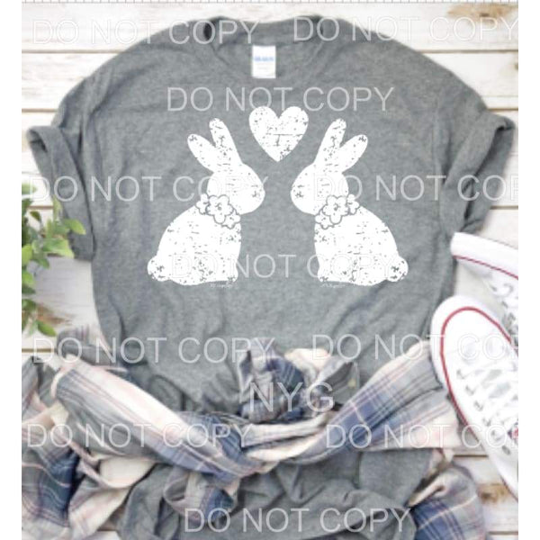 Double Bunny with heart SCREEN PRINT - adult 13x9 inches -