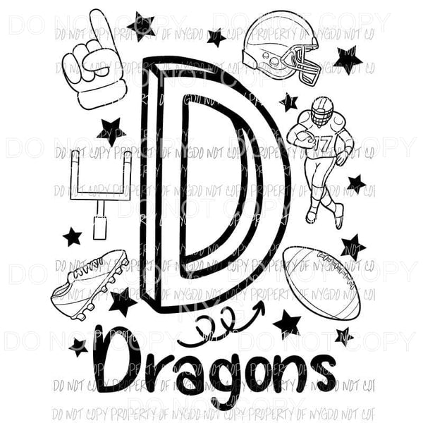 Dragons football spirit doodle Sublimation transfers Heat Transfer
