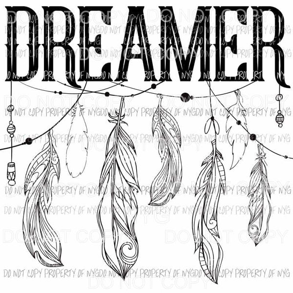 DREAMER dream catcher feathers black white Sublimation transfers Heat Transfer