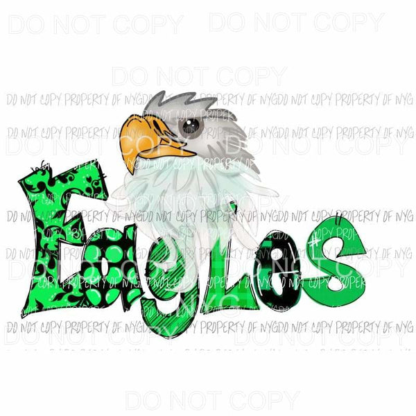 Eagles Green hand drawn Sublimation transfers Heat Transfer