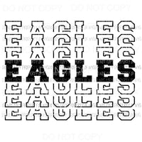 Eagles mirrored stacked Sublimation transfers Heat Transfer