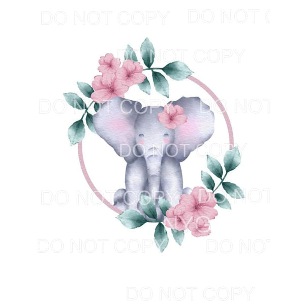 Elephant Floral #2 Sublimation transfers - Heat Transfer