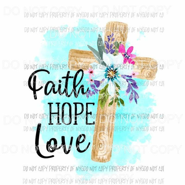 Faith Cross Floral Wood Pattern Ready to Print Dye Sublimation Transfer