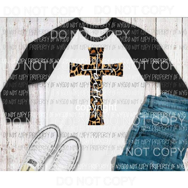 Faith Leopard Cross Full Color Screen Print can go on any fabric any color Heat Transfer