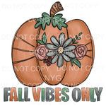 Fall Vibes Only Boho Pumpkin Flowers Sublimation transfers -