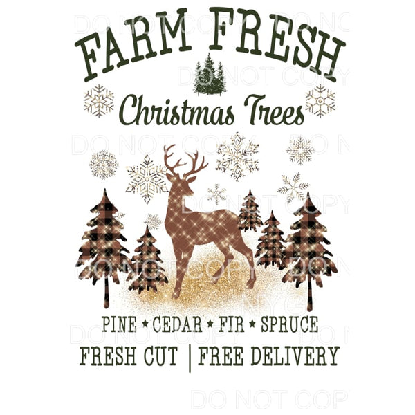 Farm Fresh Christmas Trees and snowflakes Deer # 3 Christmas