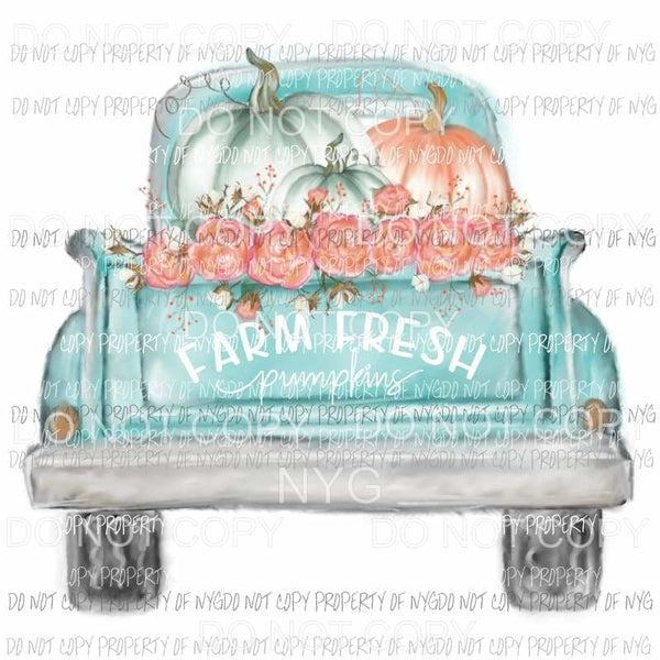 Farm Fresh Vintage Truck Pumpkins fall Sublimation transfers Heat Transfer