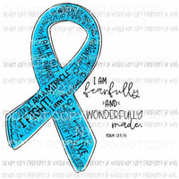 Fearfully and Wonderfully Made Light Blue ribbon Sublimation transfers Heat Transfer