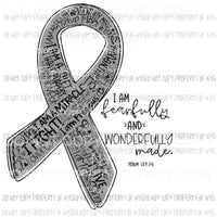 Fearfully and Wonderfully Made Silver ribbon Sublimation transfers Heat Transfer