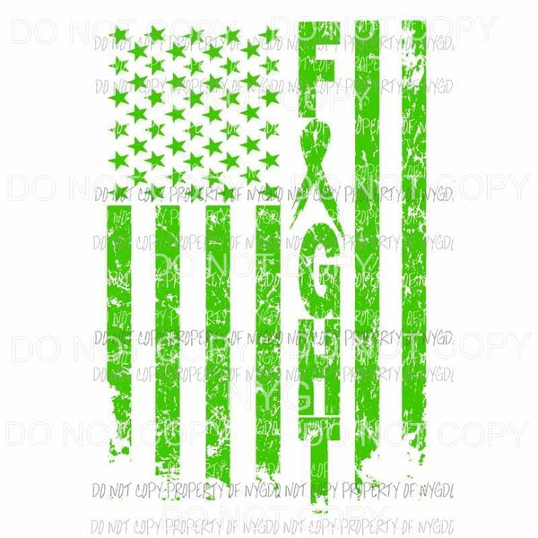 Fight FLAG Cancer Lime Green Sublimation transfers Heat Transfer