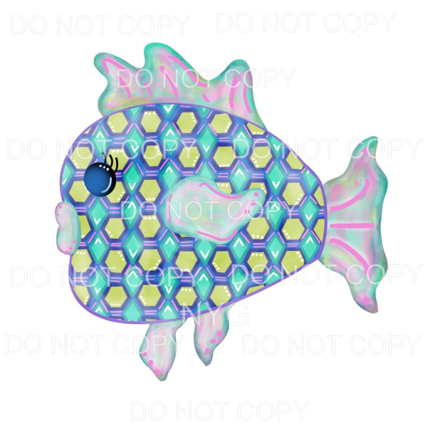 Fish Green Hexagon Pattern Watercolor Sublimation transfers
