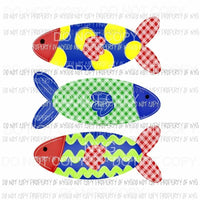 Fish Trio plaid polka dots Sublimation transfers Heat Transfer